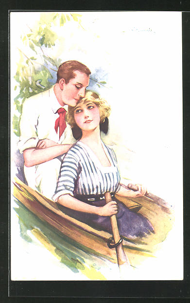 Künstler-AK Suzanne Meunier: ein Liebespaar im Ruderboot