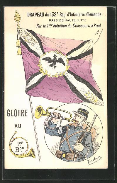 AK Propaganda, Drapeau du 132 Regiment d` Infantere allemande, Soldat mit Trompete