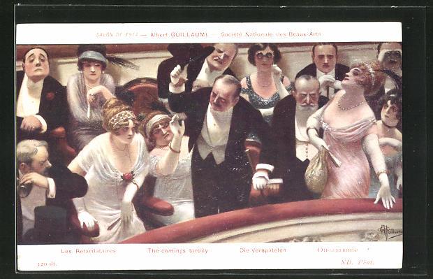 Künstler-AK Albert Guillaume: Societe Nationale des Beaux-Arts, Frauen und Männer im Salon