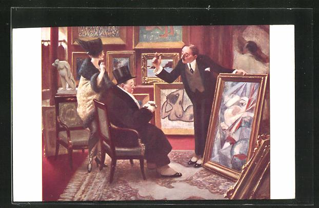 Künstler-AK Albert Guillaume: Salon de Paris, Dame und Herr betrachten ein neues Kunstwerk