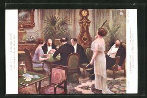 Künstler-AK Albert Guillaume: Societe Nationale des Beaux-Arts, Leute spielen Karten