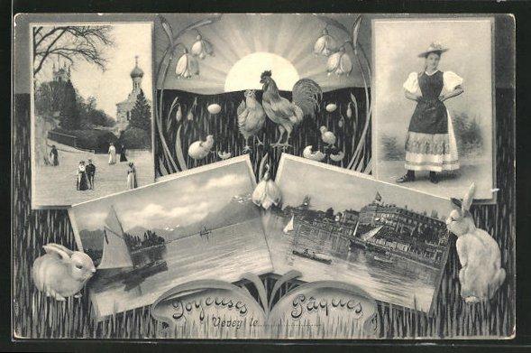AK Vevey, Teilansichten, joyeuses paques, mit Osterhasen, Kirche und Frau in Tracht