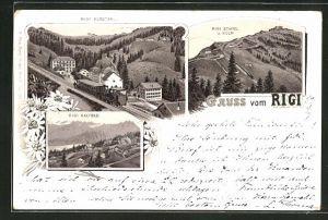 Lithographie Rigi, Rigi Klösterli, Rigi Staffel u. Kulm, Rigi Kaltbad
