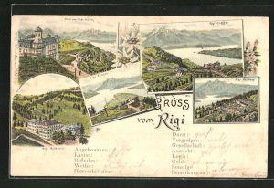 Lithographie Rigi, Rigi-Klösterli, Rigi-Staffel, Rigi-Kaltbad