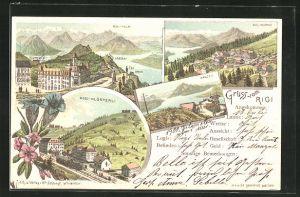 Lithographie Rigi, Rigi-Kaltbad, Rigi-Klösterli, Rigi-Kulm