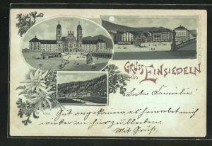 Mondschein-AK Einsiedeln, Kloster, Frauenkloster und Hauptplatz