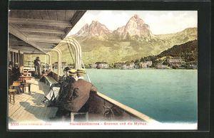 AK Brunnen, Ortsansicht mit Mythen am Vierwaldstättersee