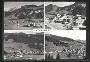 AK Unteriberg, Ortspartie mit Hotel Rössli Post, Panorama