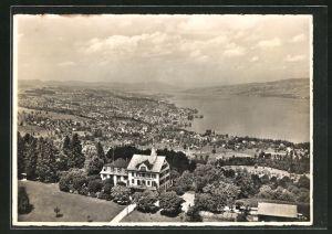 AK Feusisberg, Hotel Schönfels und Blick ins Land