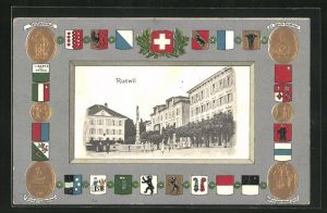 Präge-AK Ruswil, Ortsmitte mit Wappen und Denkmälern
