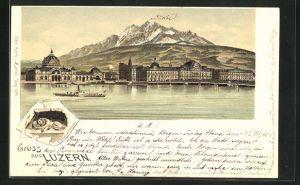 Lithographie Luzern, Ortsansicht am See, Löwendenkmal