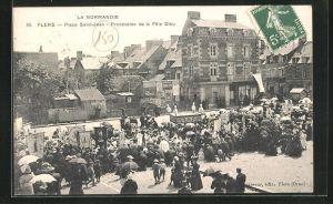 AK Flers, Place Saint-Jean -Procession de la fete Dieu