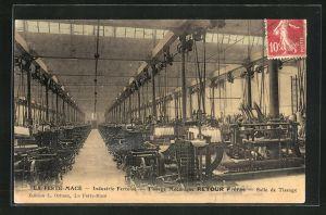 AK La Ferte-Mace, Industrie Fertoise, Tissage Mecanique Retour Freres, Salle de Tissage