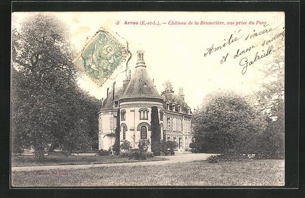 AK Arrou, Château de la Brunetière, vue prise du Parc, Schloss