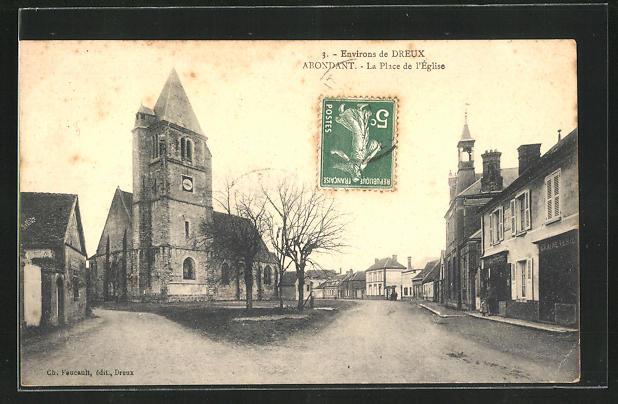 AK Abondant, La Place de l`Eglise, Kirche