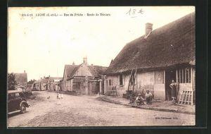 AK Loché, Rue de Friche, Route de Thivars, Ortspartie