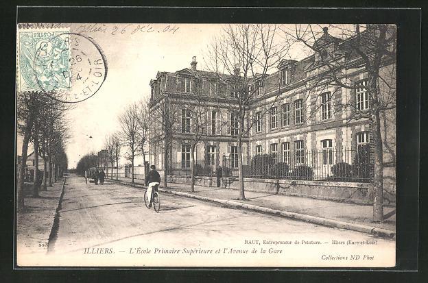 AK Illiers, L`Ecole Primaire Superieure et l`Avenue de la Gare