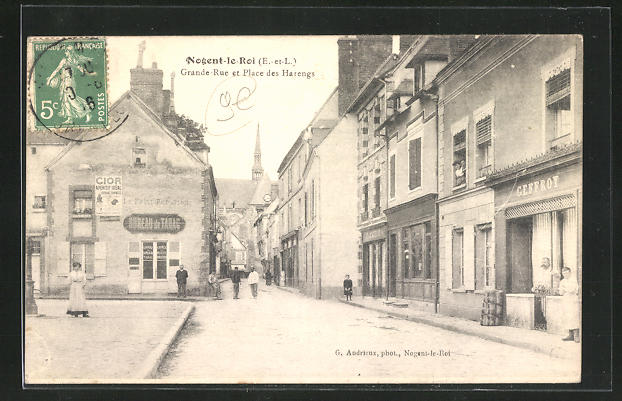AK Nogent-le-Roi, Grande Rue et Place des Harengs