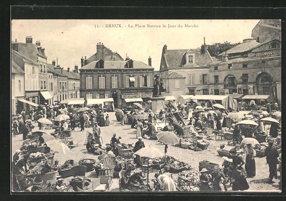 AK Dreux, La Place Rotrou le Jour du Marche
