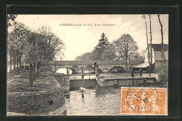 AK Courville, Les Canaux, Angler am Wehr