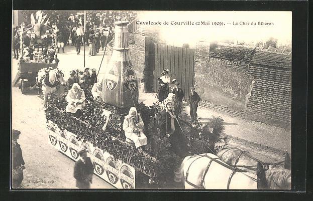AK Courville, Cavalcade de Courville 2.5.1909, Le Char du Biberon