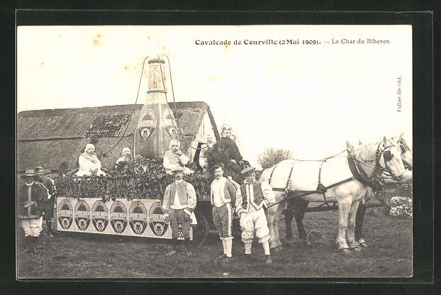 AK Courville, Cavalcade de Courville 2.5.1909, Char du Biberon