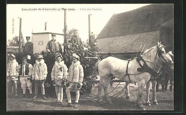 AK Courville, Cavalcade de Courville 2.5.1909, Le Char des Postiers