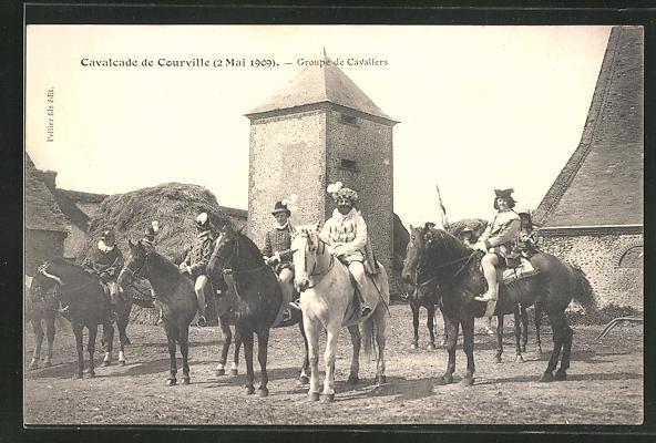 AK Courville, Cavalcade de Courville 1909, Groupe de Cavaliers