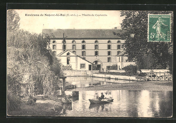AK Coulombs, Moulin, Ruderbootpartie an der Mühle