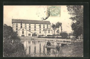 AK Coulombs, Moulin, Ruderboot an der Mühle