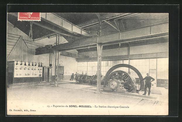 AK Sorel-Moussel, Papeteries - La Station èlectrique Centrale