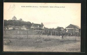 AK Sorel-Moussel, Vue d` ensemble - Eglise et Chateau de Sorel