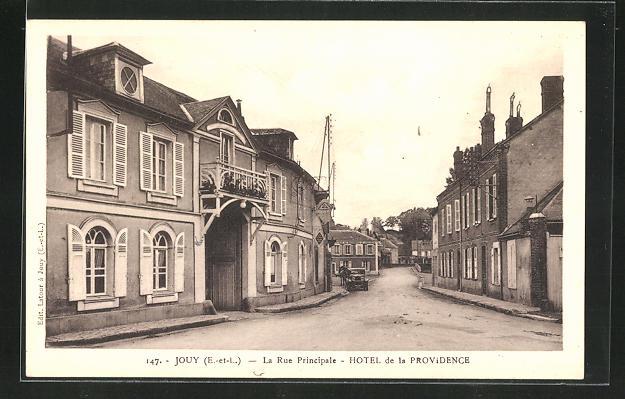 AK Jouy, La Rue Principale - Hotel de la Providence