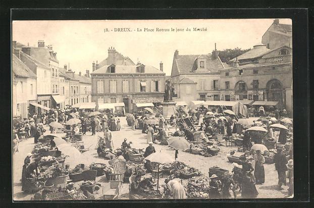 AK Dreux, La Place Rotrou le jour du Marchè
