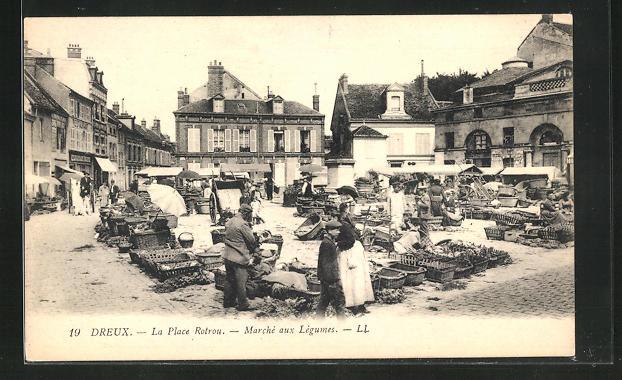AK Dreux, La Place Rotrou - Marchè aux Lègumes