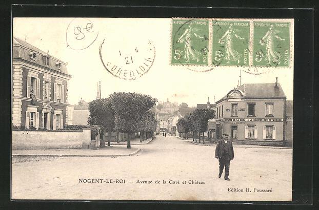 AK Nogent-le-Roi, Avenue de la Gare et Chateau