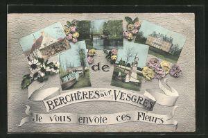 AK Berchères-sur-Vesgres, fünf Ansichten des Ortes