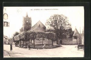 AK Oysonville, L` Eglise et le Chateau