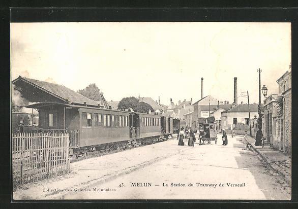 AK Melun, La Station du Tramway de Verneuil