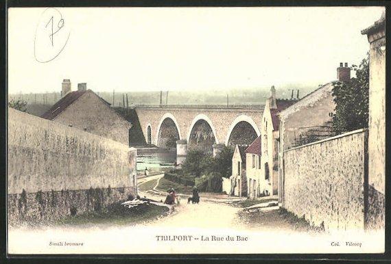 AK Trilport, La Rue du Bac, Strassenpartie