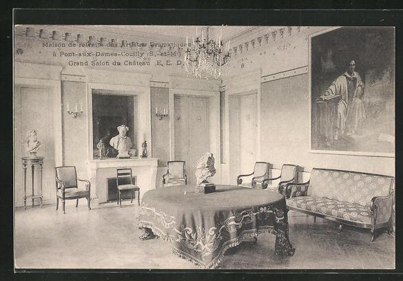 AK Couilly-Pont-aux-Dames, Maison de retraite des Artistes Dramatiques, Grand Salon du Chateau