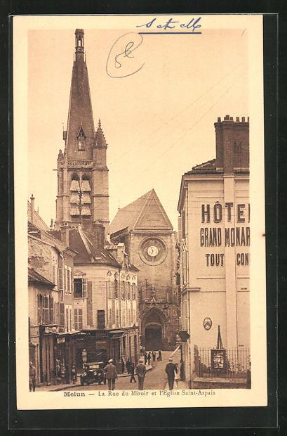 AK Melun, la rue du Miroir et l`elgise Saint-Aspais
