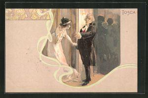 Künstler-AK Leopoldo Metlicovitz: Szene aus der Oper Tosca, Einer Dame wird die Tür gewiesen