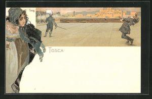 Künstler-AK Leopoldo Metlicovitz: Szene aus der Oper Tosca, Dame beobachtet eine Erschiessung