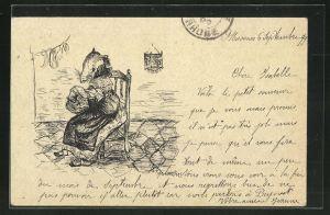 Künstler-AK Handgemalt: Mutter Ratte isst ein Stück Brot