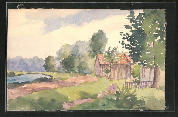 Künstler-AK Handgemalt: Landschaft mit Haus im Grünen