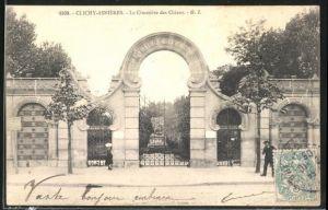 AK Clichy-Asnières, Le Cimetière des Chiens, Eingang zum Hundefriedhof