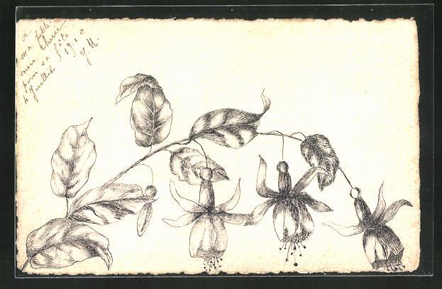 Künstler-AK Handgemalt: Zweig mit Blüten