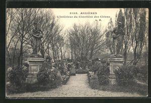 AK Asnières, L`Intérieur du Cimetière des Chiens, Hundefriedhof