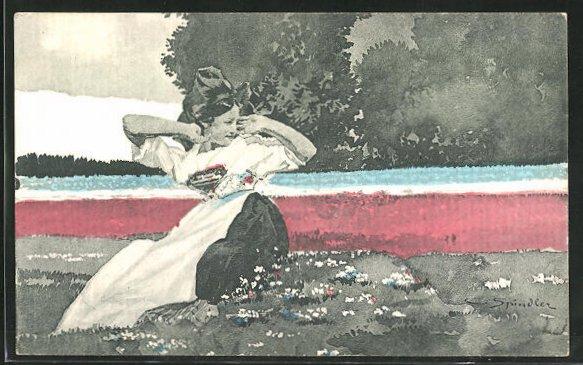 Künstler-AK sign. C. Spindler: Das Erwachen, Maid in elsass-lothringischer Tracht